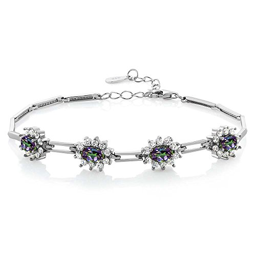 (Gem Stone King 925 Sterling Silver Oval Green Mystic Topaz Bracelet 4.20 Ctw 7 Inch with 1 Inch Extender )