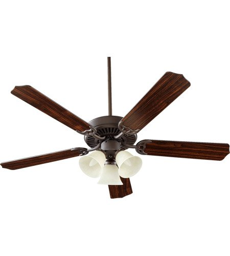 (Quorum International 77525-1886 Capri VI 52-Inch 3 Light Ceiling Fan, Oiled Bronze Finish with Linen Glass Light Kit and Reversible Blades)