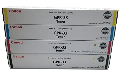 Canon GPR-33 2792B003AA 2796B003AA 2800B003AA 2804B003AA ImageRunner Advance C7055 C7065 C7260 C7270 Toner Cartridge Set (Black Cyan Magenta Cyan, 4-Pack) in Retail Packaging