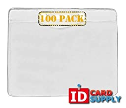Pack of 100 - Clear Vinyl ID Holder with Slot and Chain Holes - Landscape/Horizontal