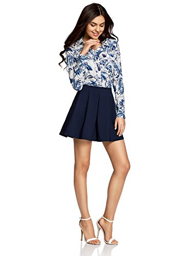 oodji Ultra Mujer Minifalda con Pliegues Suaves Azul (7900N)