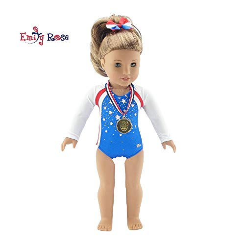 Gymnast Halloween Costume For Kids (Emily Rose 18 Inch Doll Clothes | Team USA 3 Piece Gymnastics Set, Including Realistic Olympic Gold Medal! | Perfect Halloween Costume! | Fits American Girl Dolls | Gift)