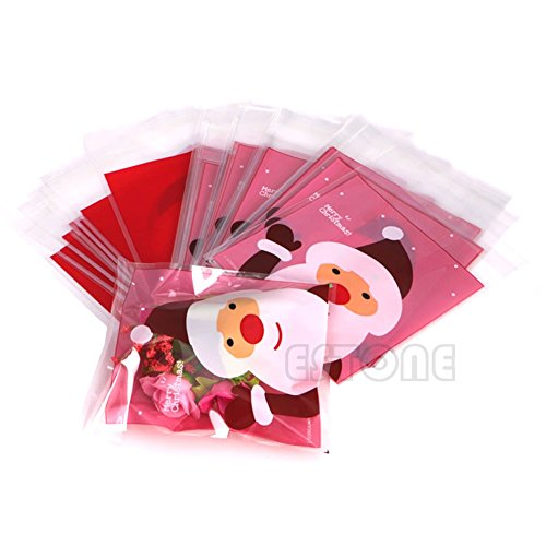 Saasiiyo Discount!!! 50pcs Christmas Cellophane Pink Bags Gift Packaging Packing Cookies Candy Cake