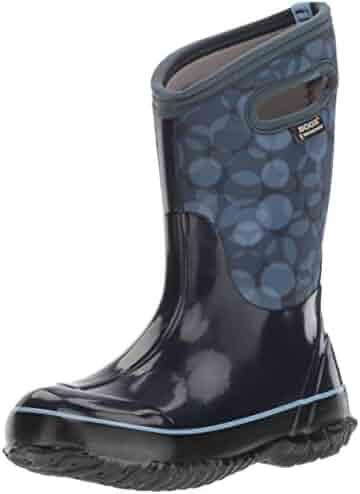 Bogs Classic High Waterproof Insulated Rubber Neoprene Rain Boot Snow, Circles Print/Dark Blue/Multi, 13 M US Little Kid