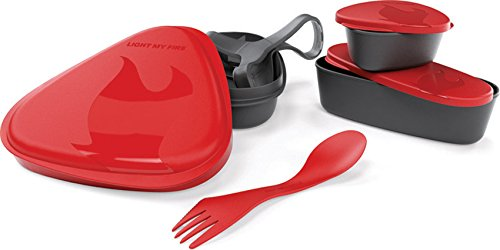 Light my Fire 6-Piece BPA-Free Lunch Kit with Plate, Bowl, Storage Boxes and Spork, Red