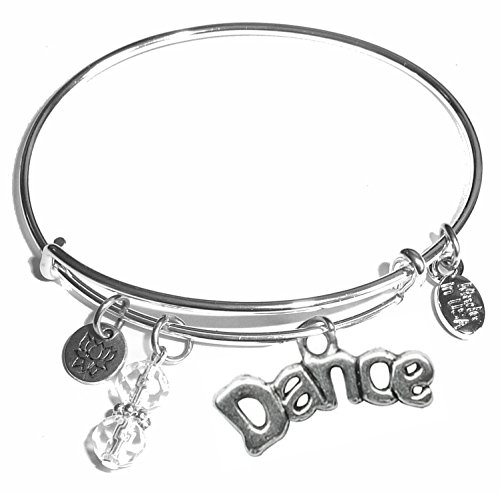 Message Charm (46 words to choose from) Expandable Wire Bangle Bracelet, in the popular style, COMES IN A GIFT BOX! (Dance)