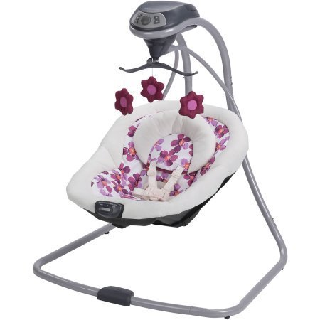 This smart swing has tons of features to help you soothe and comfort baby, all packed into a compact frame design. It's easy to keep baby Graco Simple Sway Baby Swing, Caris (Swing Infant In Plug)