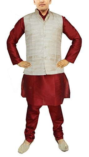 JBN Creation Men Maroon Raw Silk Kurta Pyajama With Matka Silk Jacket (Size: 40) by jbn creation