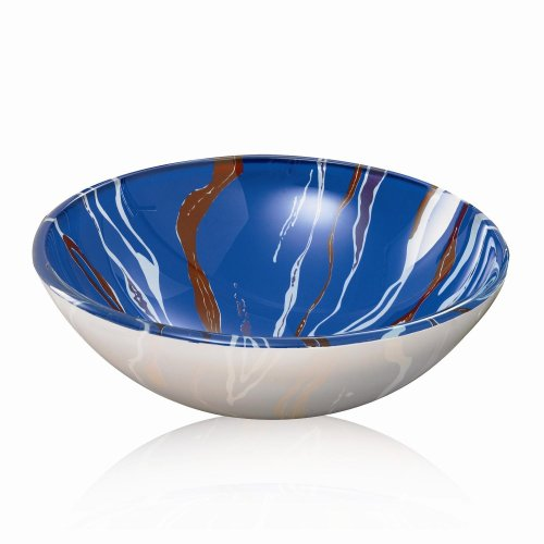 DECOLAV 1055T-SW Round 12mm Tempered Glass Vessel Sink, Blue with White and Maroon Swirls