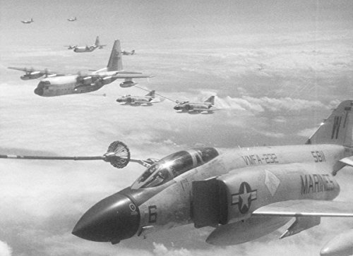 McDonnell Douglas F-4J Phantom II fighters, Trans Pacific Flight Refuel; C-130's 8''x10'' (Trans Pacific Flight)