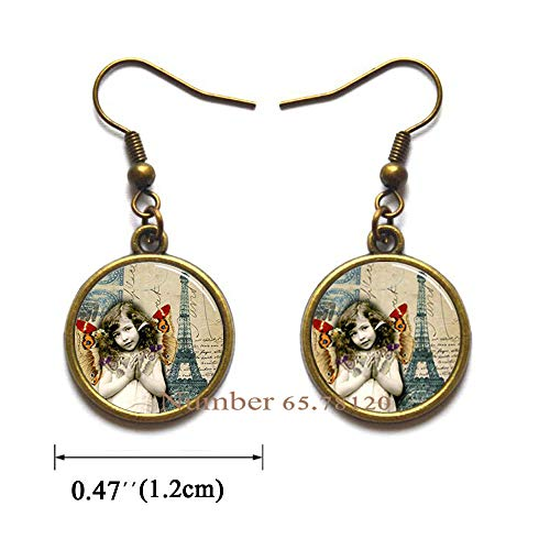 Yijianxhzao Butterflies and Eiffel Tower France French Paris Handcrafted Earrings Dangle Earrings,Tower Earrings Wearable Art Dangle Earrings Charm,BV133 (V2)