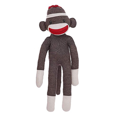 Plushland ORIGINAL SOCK MONKEY KNITTED PUPPET GIFT PRESENT STUFFED ANIMAL PLUSH BABY DOLL 40