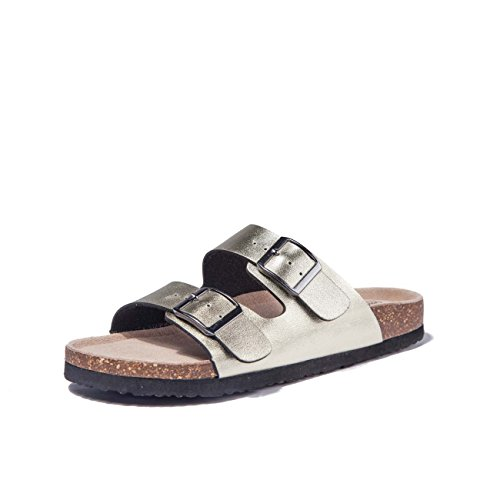 TF STAR Adjustable Women Buckle Strap Golden Flat Casual Cork Slide Sandals,Slide Cork Footbed Sandals for Women/Ladies/Girls ()