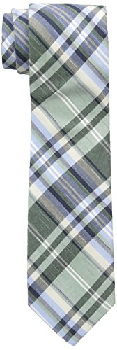 Ben Sherman Men's Burton Plaid Skinny Tie, Green, One Size