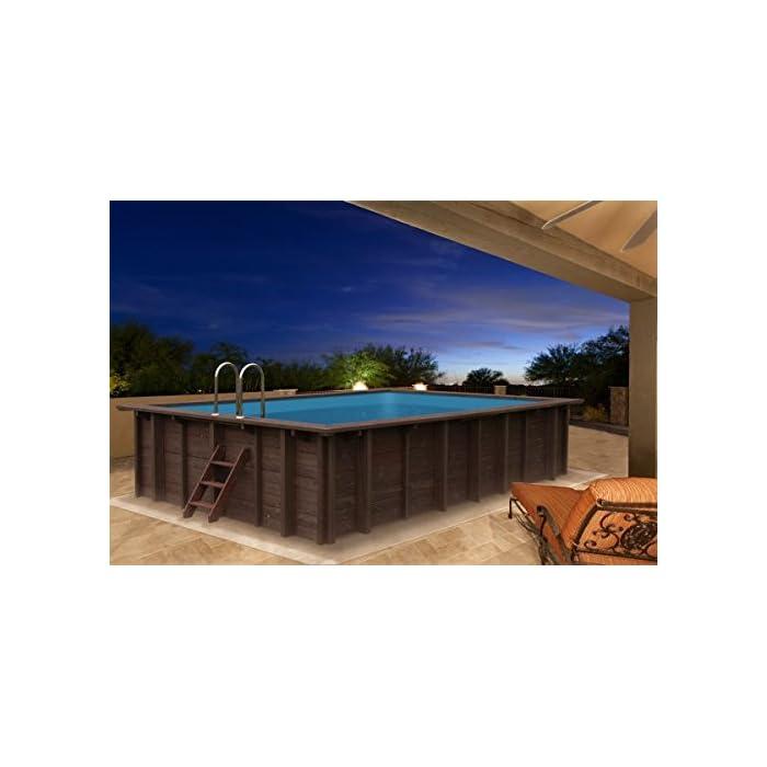 41fQcr2yW%2BL Piscina de madera para en y de foco empotrable de madera de pino Forma: Rectangular Tamaño exterior: 600 x 419 x 131 cm