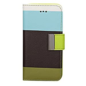 Jia Fashion Luxury Hybrid Leather Wallet Flip Pouch Stand Case Cover for iPhone 5C , Multicolor