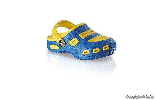 fashy - Zuecos para niño Multicolor multicolor Azul - azul y amarillo
