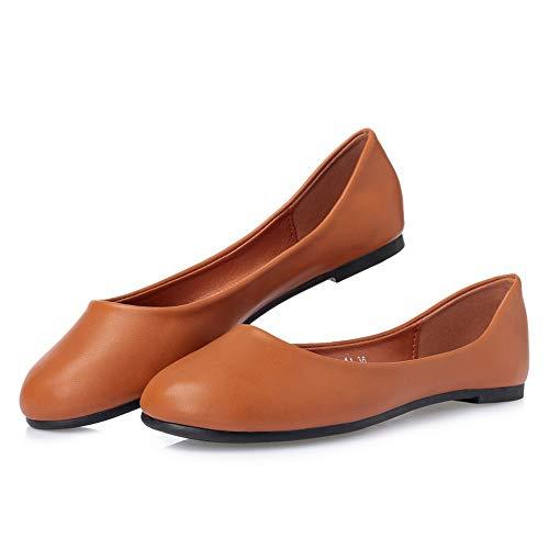 FLYRCX Zapatos Planos cómodos Ocasionales de la Primavera y del otoño Zapatos Antideslizantes de los Zapatos del Trabajo de Oficina de Las señoras brown