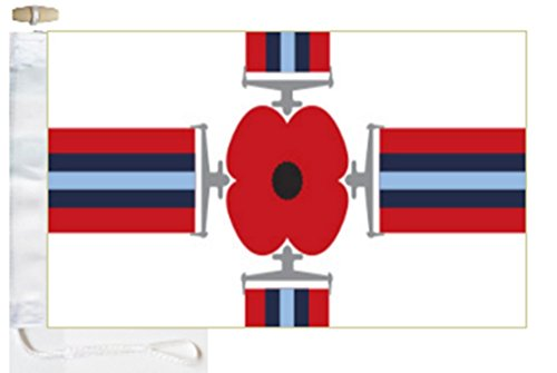 Remembrance Day Poppy Medal Joint Services St George Courtesy Boat Flag - 5'x3' (150cm x 90cm) - Rope and -