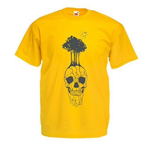 lepni.me N4341 T Shirts for Men The Skull and The Tree (Small Yellow Multi Color)