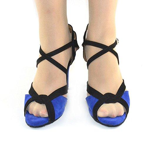 High Chaussures Danse Fond WYMNAME Indoor Danse Latine Marine Mou Heels Bleu de Women's Chaussures de Sandale 0wggznqpX