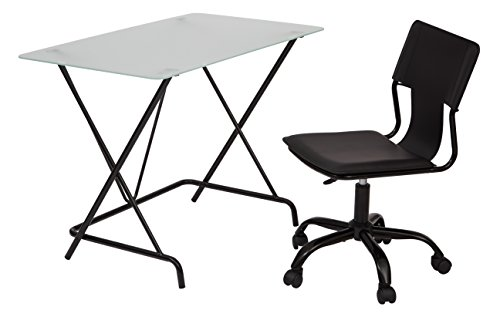 Office Star 2 Piece Desk and Chair Set with Frosted Tempered Glass Top