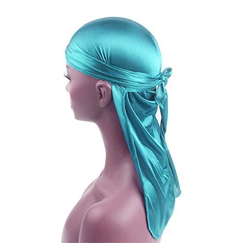 TIFENNY Men/Women Silk Polyester Bandana Hat Tail Headwrap Headwear Gift Cap Scarf Light Blue