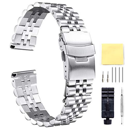 - BINLUN Stainless Steel Watch Bands Replacement Metal Watch Straps Bracelet with Butterfly Clasp with Safety Security in Black, Silver 18mm 20mm 22mm 24mm 26mm