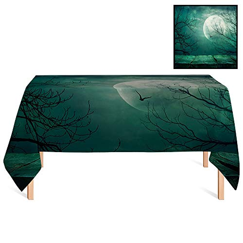 SATVSHOP Outdoor Tablecloth /55x55 Square,Halloween rations Scary Dark Night Scenery from Rustic Wood Balcony at Twilight Evil Gothic Savage Fog Teal.for Wedding/Banquet/Restaurant.]()
