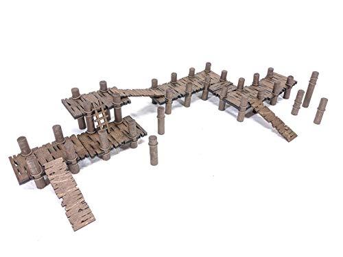 Basic Set Docks, Bridge, Walkway // Height Adjustable, Configurable // Maple Laser Cut Plywood // For Tabletop RPGs like D&D, Pathfinder