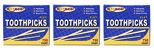 (GoodCo! Toothpicks, Flat Natural Wooden Bamboo Tooth Picks for Teeth, Appetizers and Cocktail 3 Box Each 750)