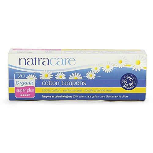 Natracare Organic Non-Applicator Super Plus 20 count Non-Chlorine Bleached (GMO-Free) 100% Cotton Tampons