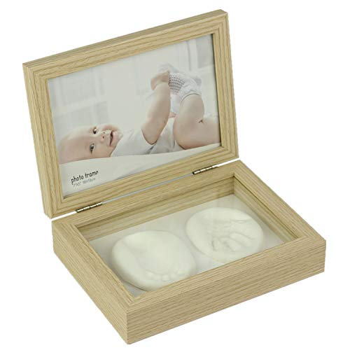 Baby Handprint Kit & Footprint 5x7 Photo Frame for Newborn Girls and Boys, Baby Photo Album for Shower Registry, Personalized Baby Gifts, Keepsake Box Decorations for Room Wall Nursery Decor from Home&Me