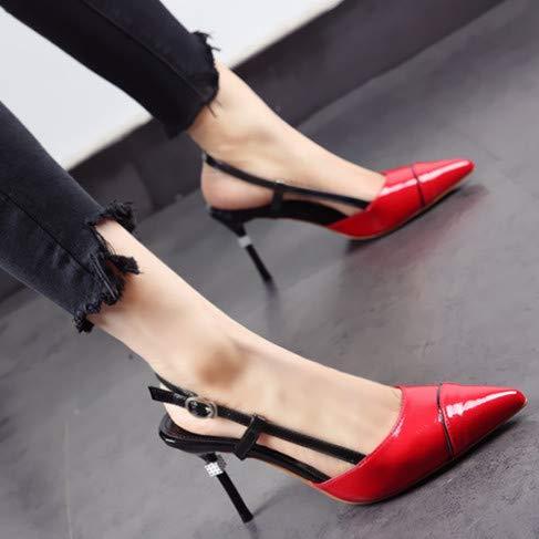 sexy a spillo sandali tacco banchetto Scarpe estate a da punta YMFIE red europee primavera alto tacchi e laterali OPWq6