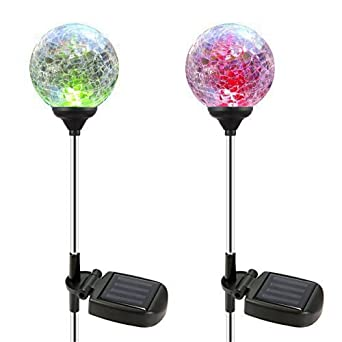 Solar Globe Lights, OxyLED Crystal Glass LED Light/Solar Stake Light, Color