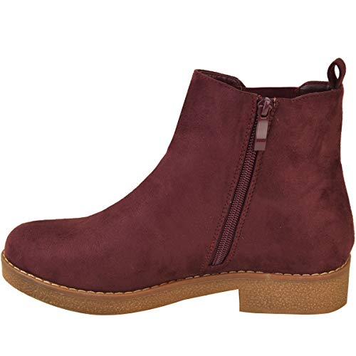 Work Red Dark Womens Fashion Smart Low Ankle Walking Thirsty Boots Heel Suede Chelsea Comfort Ladies Flat Burgundy Faux ZS6PSqn