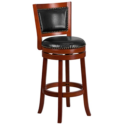 Flash Furniture 30'' High Light Cherry Wood Barstool with Black Leather Swivel Seat