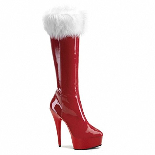Women's Winter-Boots Wedge Knee-High Boots Santa Straight Boots 15cm High Heels Christmas Ladies Boots Red Red