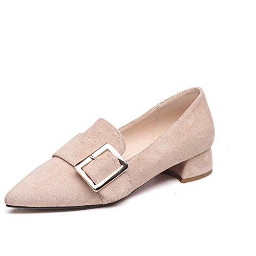 de Bouche Métal Superficielle Chaussures Grossière en Travail Blanc 39 Riz Pied avec Chaussures Boucle Printemps Pointues des Chaussures Sqd7SB