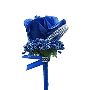 2 PCS Artificial Groom Flowers, Silk Rose Men Corsage/Boutonniere for Groom Bridegroom Groomsman for Wedding, Prom,Party (Dark Blue) 34