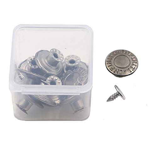 Replacement Buttons Fastener for Jeans - 10 Sets Metal Tack Buttons in a Storage Box - Diameter 17MM(0.67 Inch) (Grey)