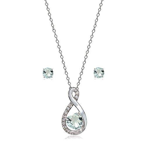 Lovve Sterling Silver Light Aquamarine & White Topaz Infinity Heart Necklace Earrings Set
