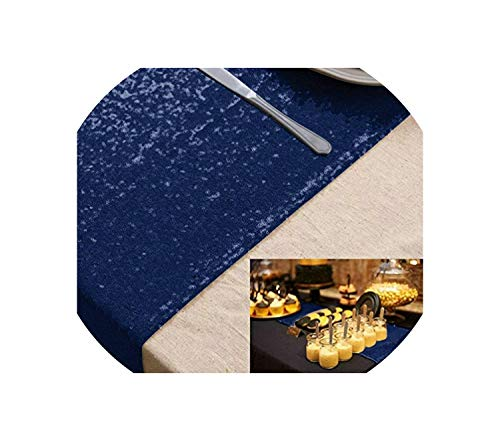- See Something Sequin Table Runner Blush 12x72in for Event/Party/Banquet/Christmas Weddings Decoration,Navy Blue,12inch x 108inch