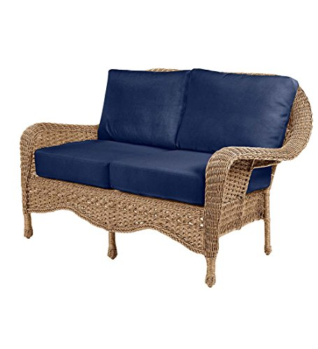 Prospect Hill Outdoor Patio Deep Seating Love Seat Furniture - Includes Cushions - All Weather Woven Resin and Aluminum Frame, 54.75 W x 30 D x 35.5 H - Driftwood with Midnight Navy Cushions (Loveseat Seating Deep Frame)
