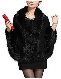 FOLOBE Women Faux Fox Fur Cape Coat Floral Bridal Shawl Cloak Sweater, White
