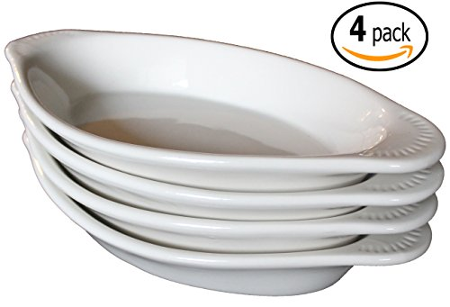 CAC Ceramic Oval Rarebit / Au Gratin Baking Dish with Pan Scraper, Set of 4, Bone White (12 Ounce)