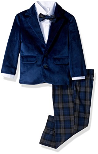 Nautica Boys' Suit Set Jacket, Pant, Shirt Tie, Dark Blue Velvet, -