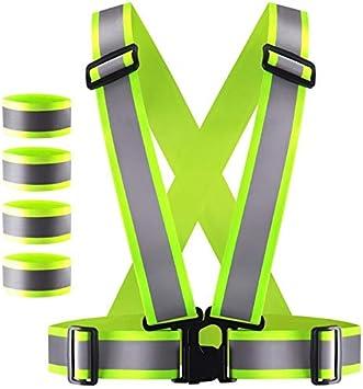 Uchidodo Warnweste Warnweste Fahrrad Reflektierende Reflektorbänder Reflektorweste Sicherheitsweste Elastisch Für Jogging Radfahren Wandern Motorrad Reiten Oder Laufen Grün Auto