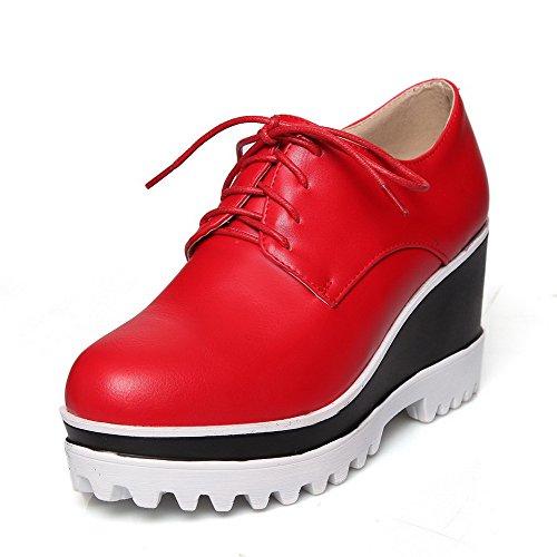 Amoonyfashion Femmes Pu Solide Lacets Ronds Bout Fermé Talons Hauts Pompes-chaussures Rouge