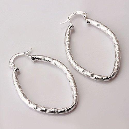 New Women 925 Sterling Silver Plated Fashion Oval Hoop Studs Earrings - Fashion Celebrity Shop